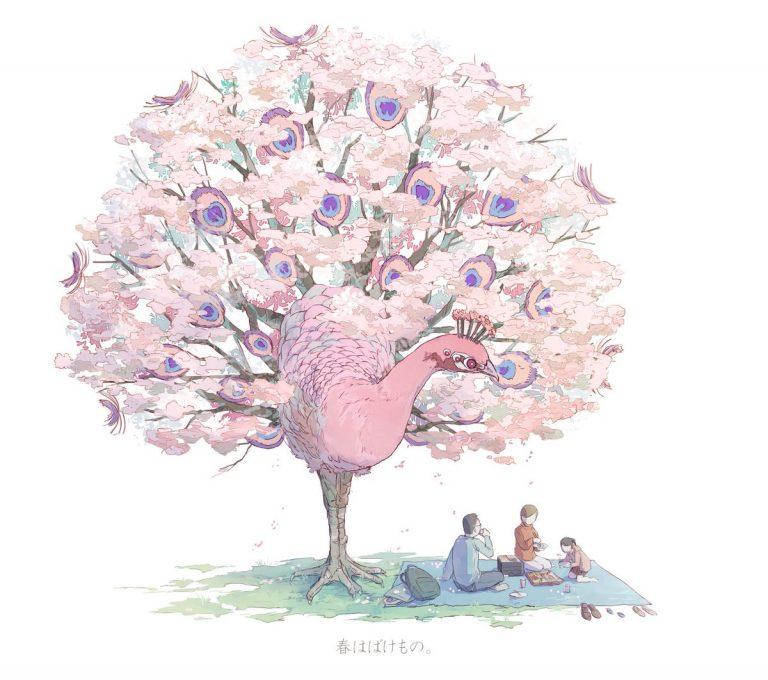 Một nghệ sĩ Nhật đã lai tạo giữa chim và cây để cho ra đặc trưng 4 mùa