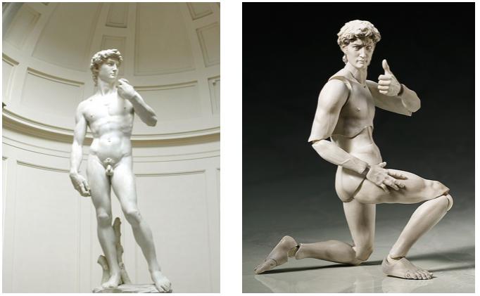 Mô hình Nhật biến đổi hài hước tư thế của các bức tượng lịch sử nổi tiếng