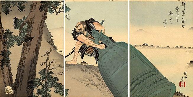 Tranh cổ Nhật Bản: tích Benkei trộm chuông chùa Mii
