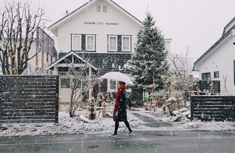 Tuyết đầu mùa tại thị trấn ảnh Higashikawa, Hokkaido