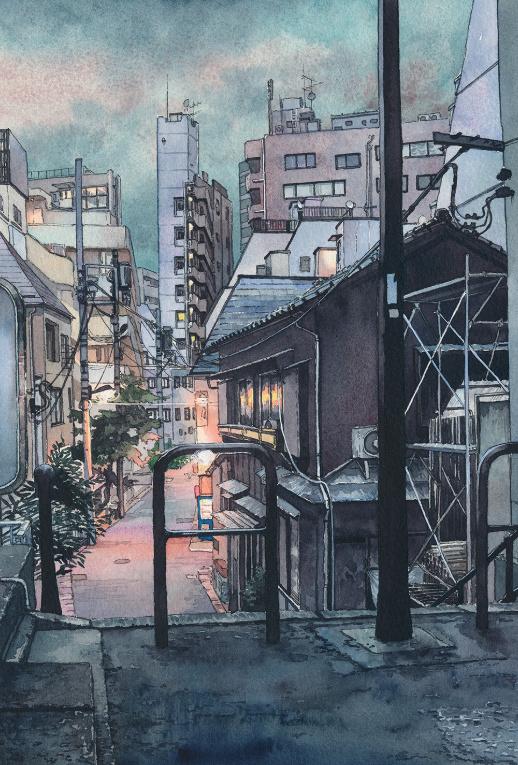 Chiêm ngưỡng đêm Tokyo đẹp lung linh qua tranh minh họa màu nước ...