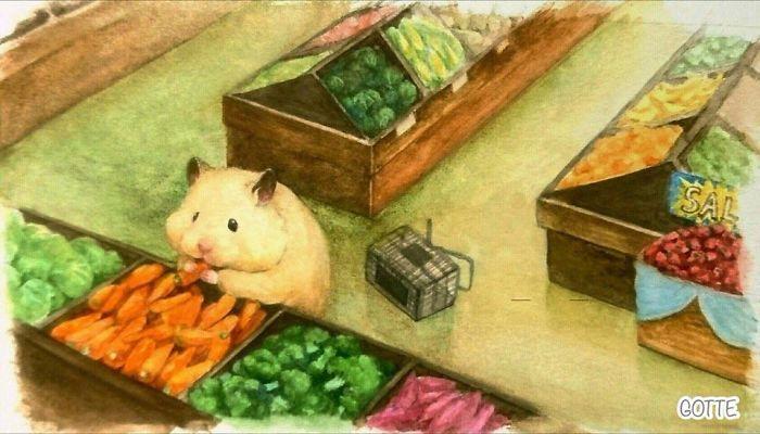 Một ngày của chuột Hamster – bộ tranh màu nước sẽ làm tan chảy trái tim của bất kỳ ai