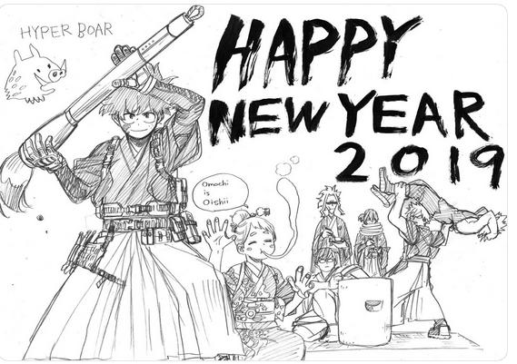 Các họa sĩ Manga Nhật Bản chào đón năm 2019 bằng những tấm thiệp tuyệt vời
