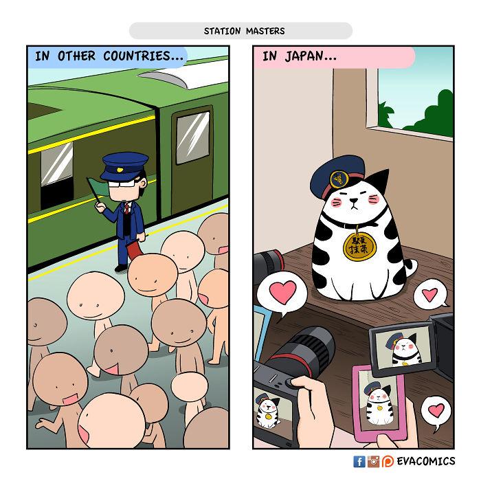 Loạt tranh thể hiện sự khác biệt giữa văn hoá Nhật và văn hoá các quốc gia khác