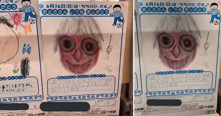 Momo trở lại qua bức vẽ Cha 'rợn da gà' được trưng bày tại trung tâm thương mại Nhật.