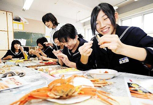 Người Fukui có học cách ăn Cua ở trường không? Dùng Cua thật để thực hành?