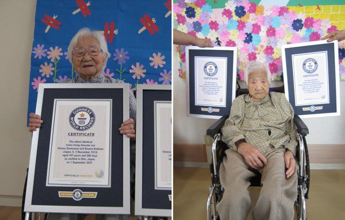 """Cặp sinh đôi 107 tuổi của Nhật Bản giành kỷ lục """"Cặp sinh đôi lớn tuổi nhất thế giới"""""""